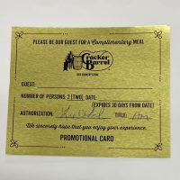 Cracker Barrel Gold Card
