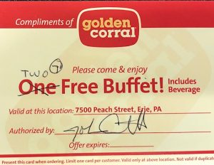 Golden Corral gift certificate