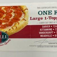 Vocelli's Pizza certificate